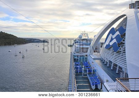Saint Thomas, Us Virgin Islands - February 18, 2014 : Crown Princess Ship Departs From Charlotte Ama