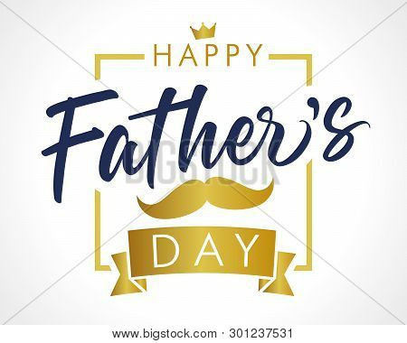 Happy Father`s Day Vector Golden Lettering Background. Fathers Day Calligraphy Light Banner. Dad My