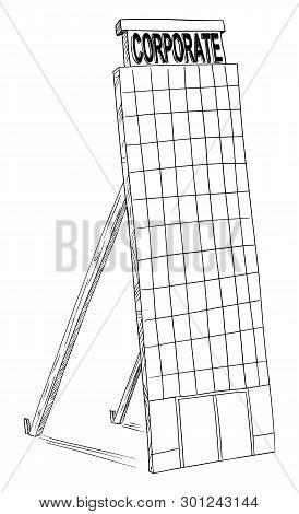 Vector Cartoon Black And White Drawing Of Fake Mock-up Corporate Building Tower. Concept Of Superfic