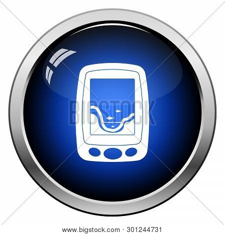 Icon Of Echo Sounder. Glossy Button Design. Vector Illustration.
