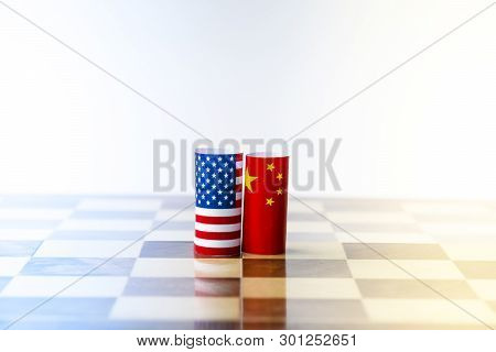 Usa Flag And China Flag On Chess Board For Tariff Trade War Between United States And China Who Conf