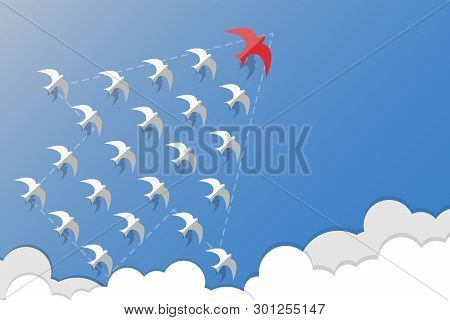 Leadership, Teamwork And Courage Concept, Red Swallows Leader White Swallows And Flying In Grow Arro