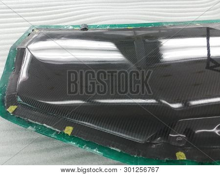 Auto Mechanic Is Making Car Parts From Carbon., The Hood (front Bonnet ) Is Made Of Carbon.