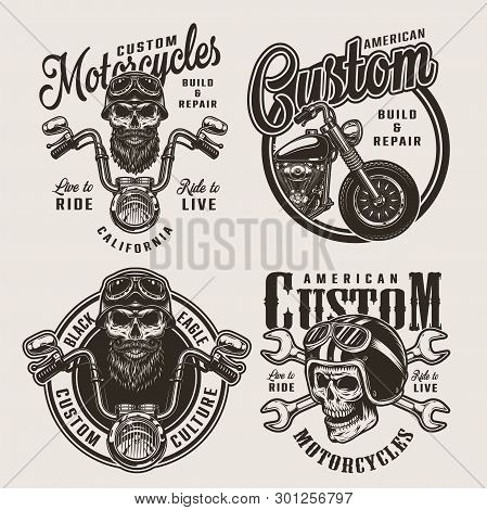 Vintage Monochrome Custom Motorcycle Badges With Biker And Motorcyclist Skulls Crossed Wrenches Chop