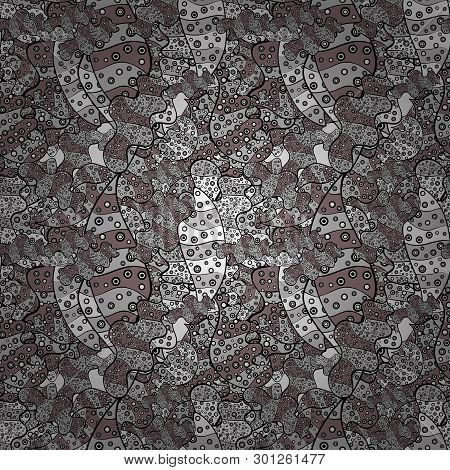 Images On A Gray, Black And Pink Colors Vector Illustration. Seamless Pattern Elegant Decorative Orn