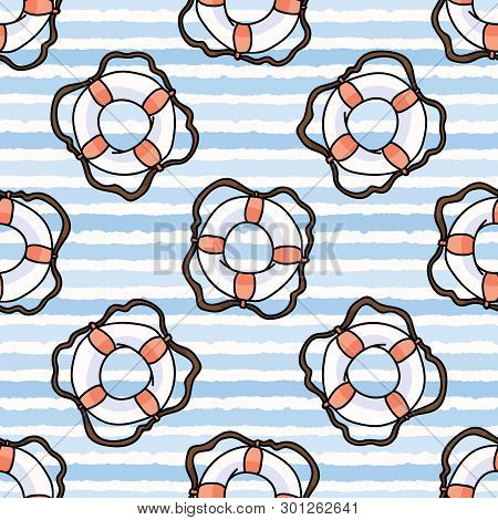 Cute White And Red Lifering In The Ocean Cartoon Seamless Vector Pattern.