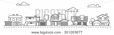 Suburban Neighborhood Line Art With Classic, Mid-century And Contemporary Houses