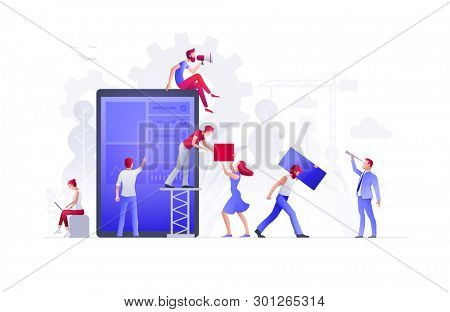 People are building a new business on the internet. Screen with a website. Ideas with teamwork, promotion of business online, the takeoff rating of the works. Concept illustration.