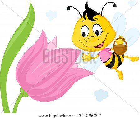 Bee Collects Honey From A Tulip - Ute Vector Illustration