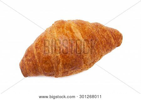 Top View Of Croissant Isolated On White Background