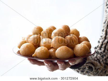 poster of Luqaimat - traditional sweet dumplings of UAE. Sweet Ramadan dumplings.