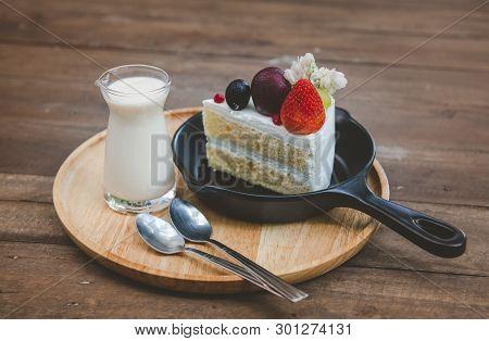 Sweet Fruit Cream Cake Cut Serve.