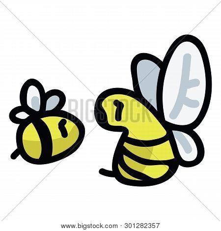 Cute Honey Bee Cartoon Vector Illustration Motif Set. Hand Drawn Garden Pollinator Insects Blog Icon