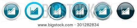 Histogram silver metallic chrome border icons in 6 options, set of web blue round buttons isolated on white background