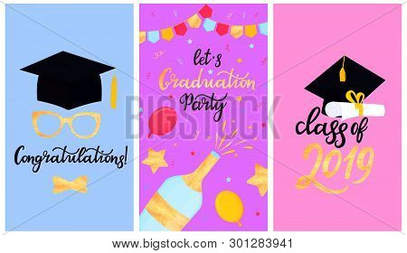 Academic Mortarboard With Tassel. University Graduation Cap. Class Of 2019 Hand Drawn Lettering With