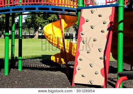 Miniature Rock Climbing Wall Attached To Playground Set
