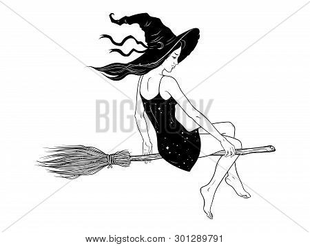Beautiful Witch Girl Riding Broom Hand Drawn Line Art Vector Illustration. Boho Chic Tattoo, Poster,