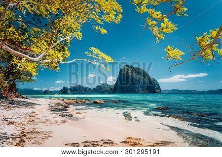 Beautiful Landscape Scenery Of El Nido Coastline. Unique Amazing Pinagbuyutan Island In Background F