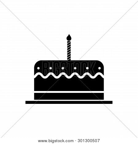 Birthday Cake With One Burning Candle Icon, Birthday Cake With One Burning Candle Icon Eps10, Birthd