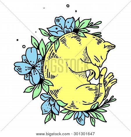 Guilty Cat Flat Vector Color Character. Cute Naughty Playful Cat Eat, Damage Houseplats. Kitten Play