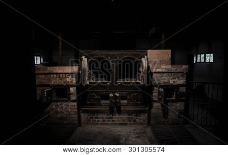 Dachau Concentration Camp, Near Munich, Bavaria, Germany, Europe. Dachau Crematorium Furnaces In The