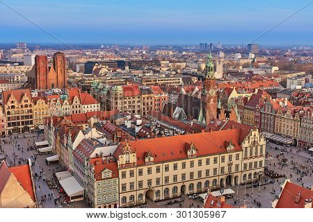 Wroclaw, Poland - March 30, 2019: Aerial View Of Stare Miasto With Market Square, Old Town Hall And