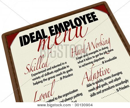 A menu showing you the options for choosing an ideal employee, with qualities such as skilled, hard-working, loyal and adaptive