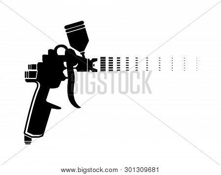 Auto Body Industrial Painting Spray Gun Vector Icons. Auto Paint Spray, Airbrush Equipment Gun Illus