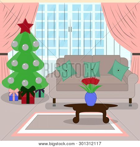New Year's Interior Living Room With Christmas Tree. A Cozy Room Decorated For Christmas. Flat Style