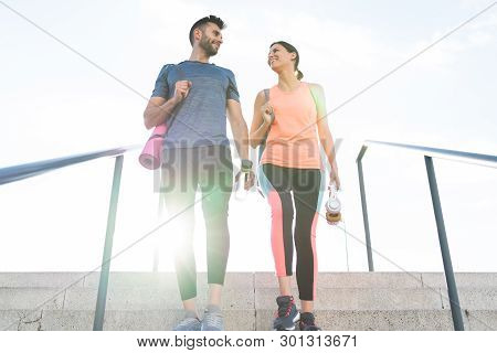 Beautiful Couple Going Together To The Gym.