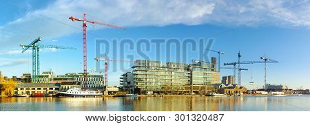 Dublun, Ireland- February 4, 2017: Construction Sites In Modern Part Of Dublin Docklands, Also Known