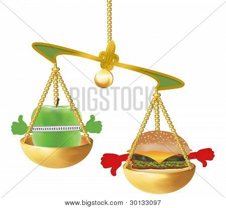 Apple and hamburger