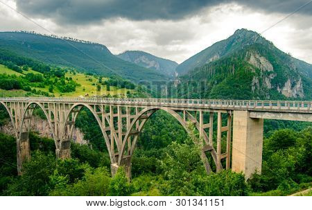 Beautiful Djurdjevica Bridge over the River Tara Canyon. Durmitor National Park in Montenegro, Balkans, Europe