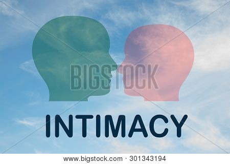 Render Illustration Of Intimacy Title Under Two Head Silhouettes, With Cloudy Sky As A Background.