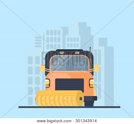 Road cleaner car in city. Street sweeper. Machine for highway service poster
