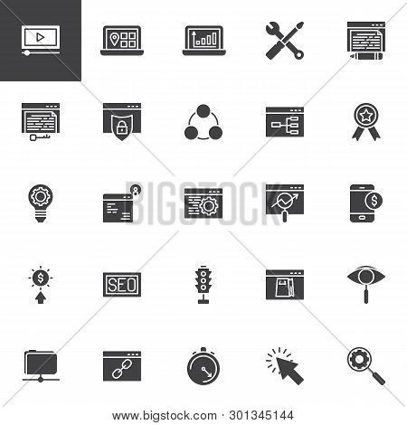 Search Engine Optimization Vector Icons Set, Modern Solid Symbol Collection, Filled Style Pictogram