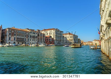 Venice, Italy - October 23, 2018: Vaporetto On Grand Canal Of Venice