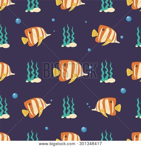 Copperband Butterflyfish Seamless Pattern. Sea Animals Background