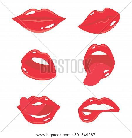 Sexy Woman Lips With Tongue Set. Girls Mouth With Red