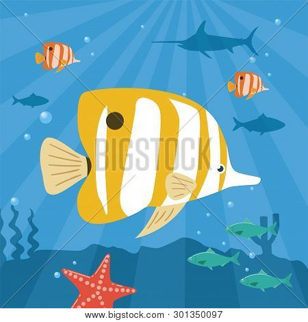 Illustration Of Tropical Fish Underwater. Copperband Butterflyfish