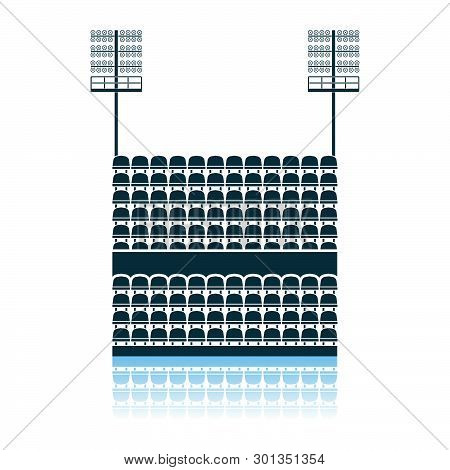 Stadium Tribune With Seats And Light Mast Icon. Shadow Reflection Design. Vector Illustration.
