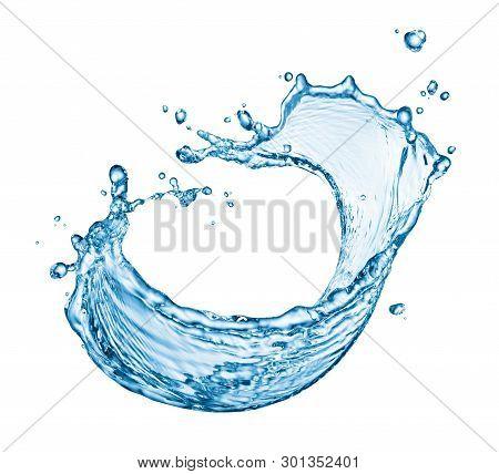 Curve Water Splash Isolated On White Background