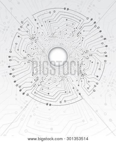 High-tech Technology Tunnel Background Texture. Circle Circuit Board Vector Illustration. Electronic