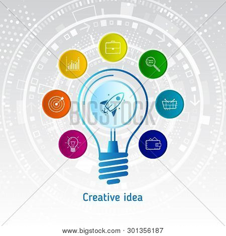 Creative Inspiration Original Idea. Innovation Concept And New Idea With Light Bulb And Icons Of Bri