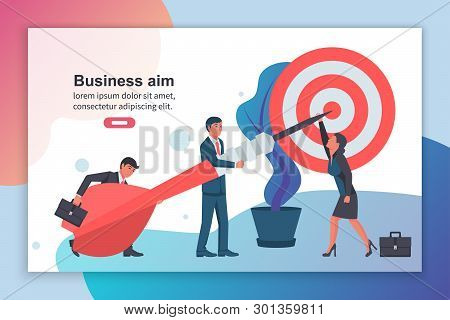 Team Goal Achievement. People Send A Dart To The Center Of The Target. Promotion Of Business. Growth