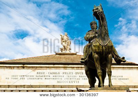 Giuseppe Garibaldi Statue And Muse With Harp On Top Of Opera Theater In Genoa, Italy