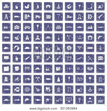 100 lorry icons set in grunge style sapphire color isolated on white background illustration poster