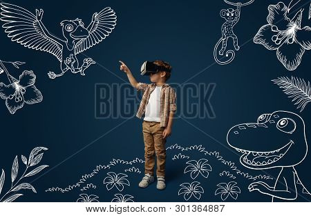 Painted Dream About Jurassic Period With Dinosaurs In The Jungle. Little Boy With Virtual Reality He