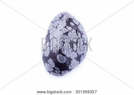 Stone Macro Mineral Obsidian Snow On A White Background
