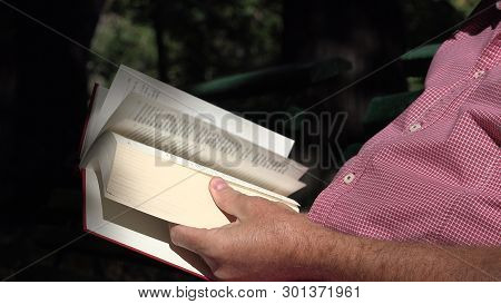 Man In Park Sit On A Bench Relaxed And Read A Literature Book